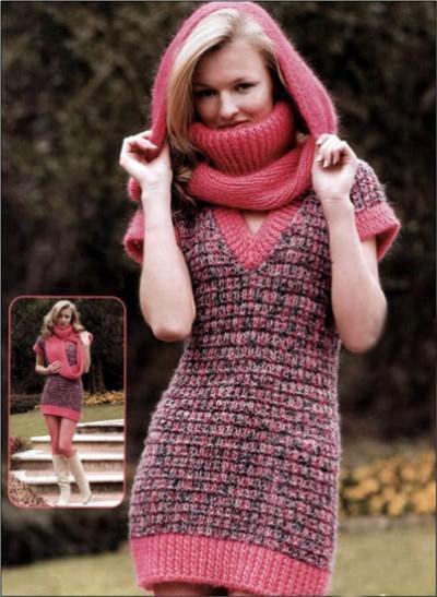 Мини-платье и шарф спицами