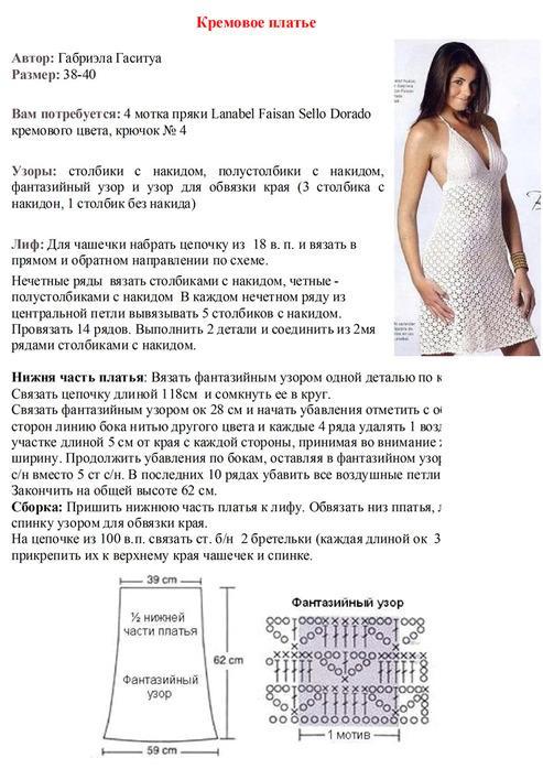 платье крючком описание бесплатно