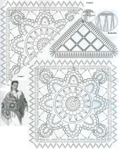 Шаль из квадратов схема вязания