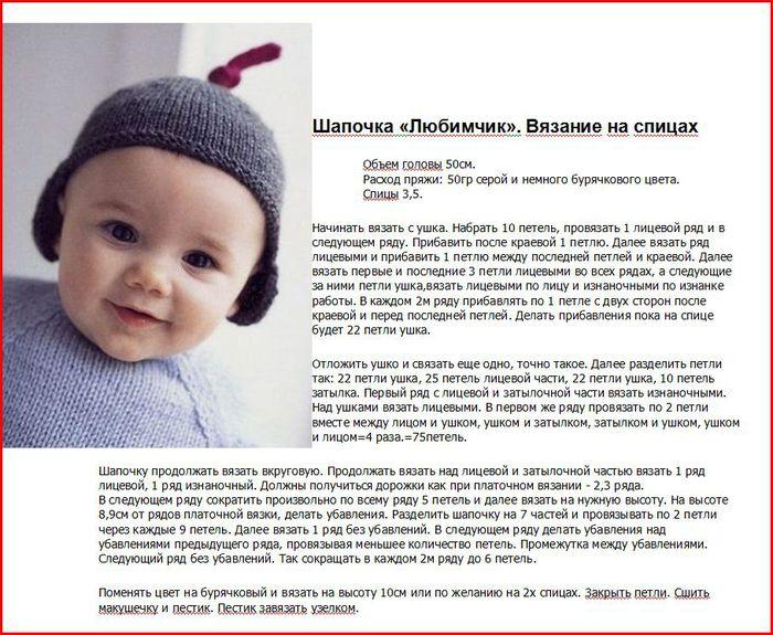 Вязаная шапка малышу описание изделия