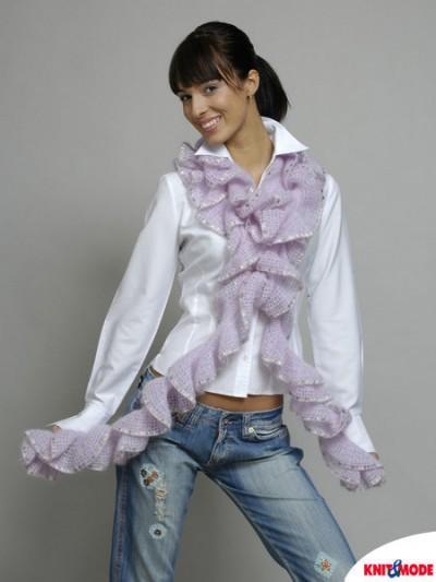 фотография шарф волан вязаный спицами