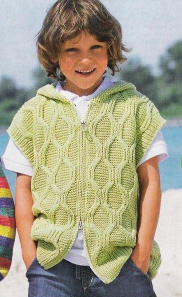 жилет с капюшоном вязание для мальчиков
