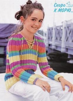 вязаный пуловер девочке