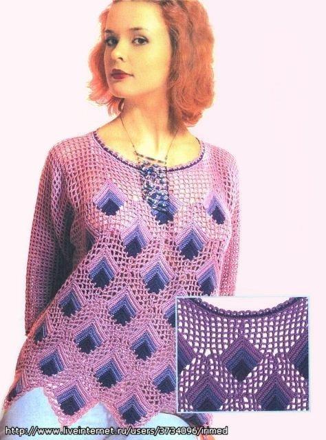 Интересный вязаный пуловер
