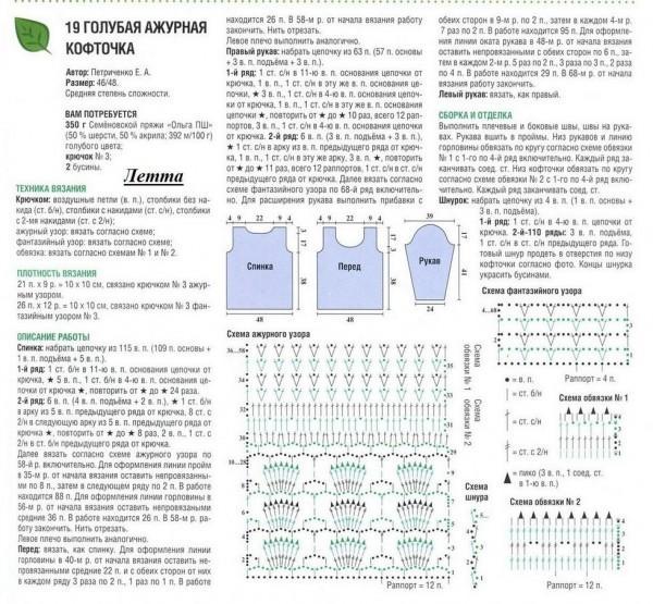 кофта вязаная описание и схема