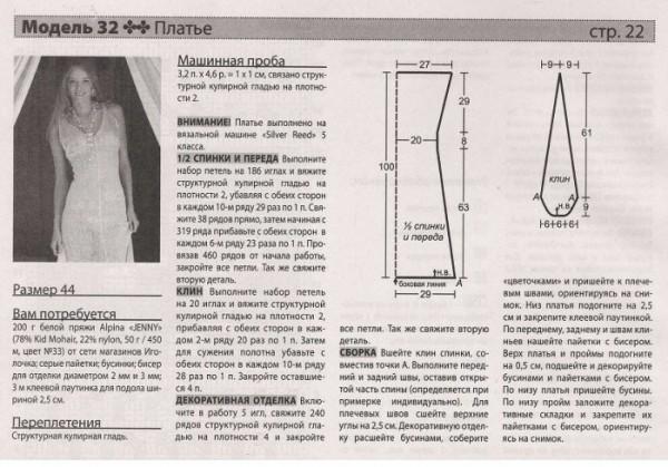 Платье с мохера выкройка и описание вязания