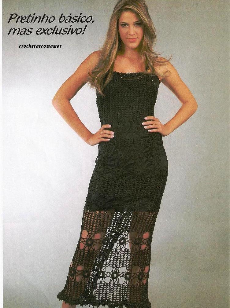 черное платье вязаное крючком