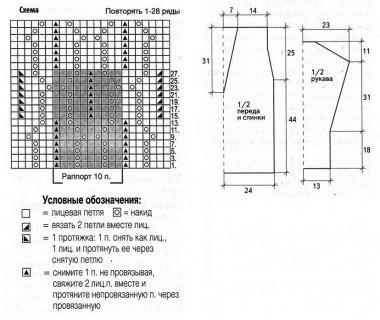 Белый ажурный пуловер выкройка и схема вязания