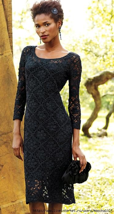 вяжем черное платье крючком