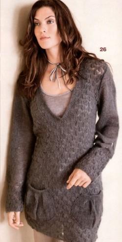 вязание пуловера с карманами