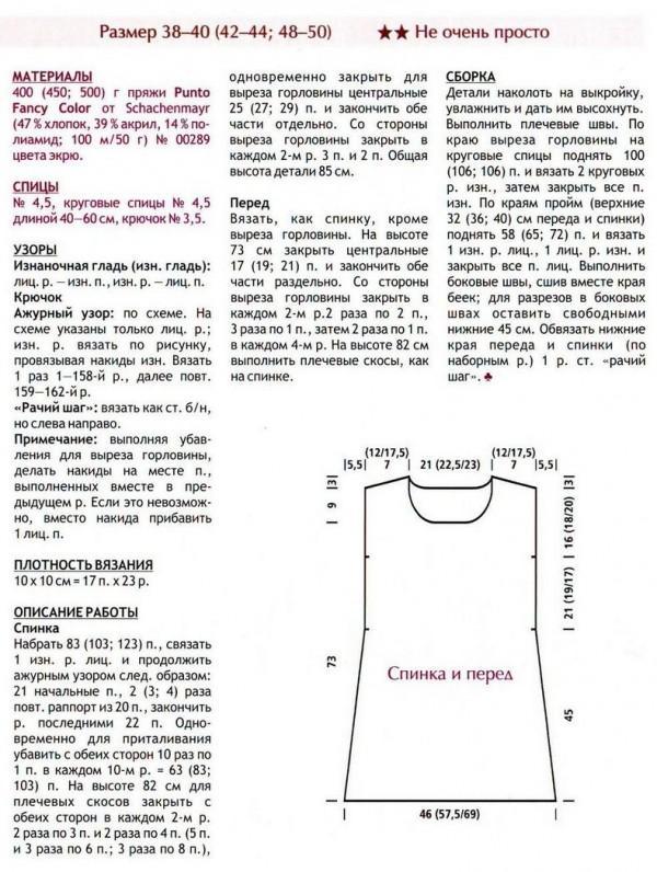 описание вязания сарафана лето
