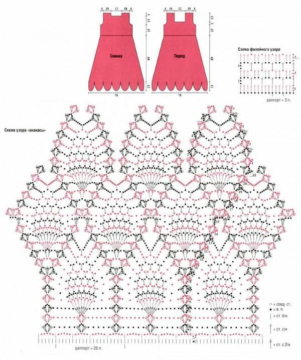 вяжем платье крючком схема вязания