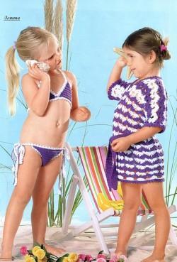 Лилово-белая туника и бикини вашей девочке