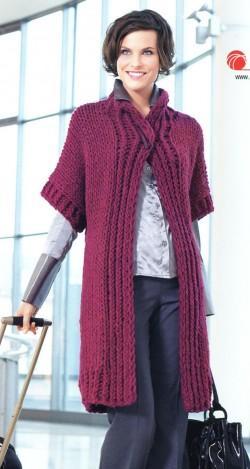 пальто вязание спицами