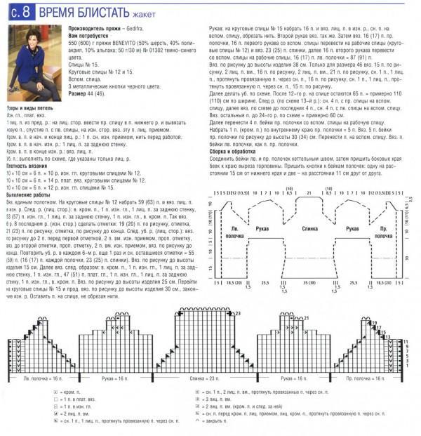 жакет вязание спицами схема