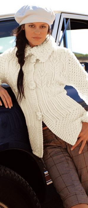 Белый жакет из BERGERE вязание спицами