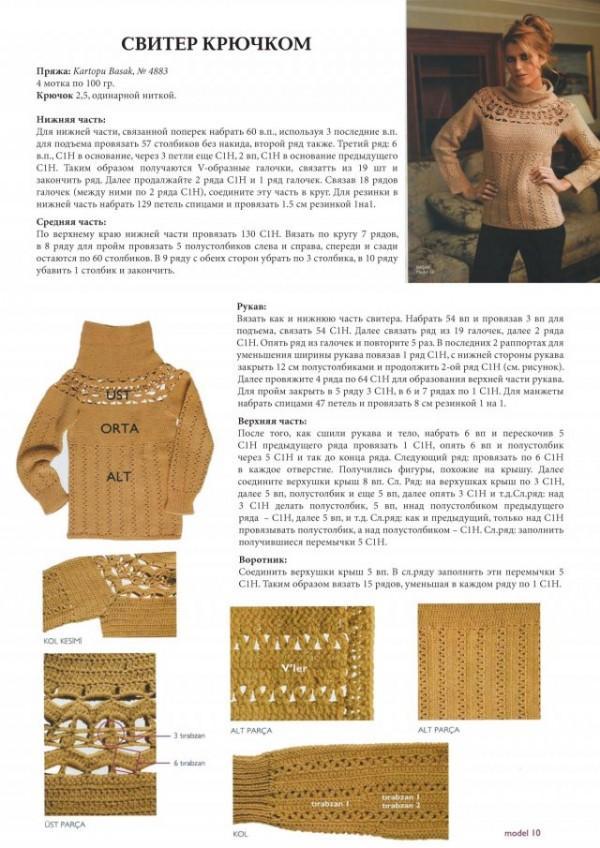 Пуловер крючком описание бесплатно