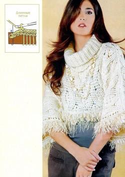 Белый пуловер вязание крючком