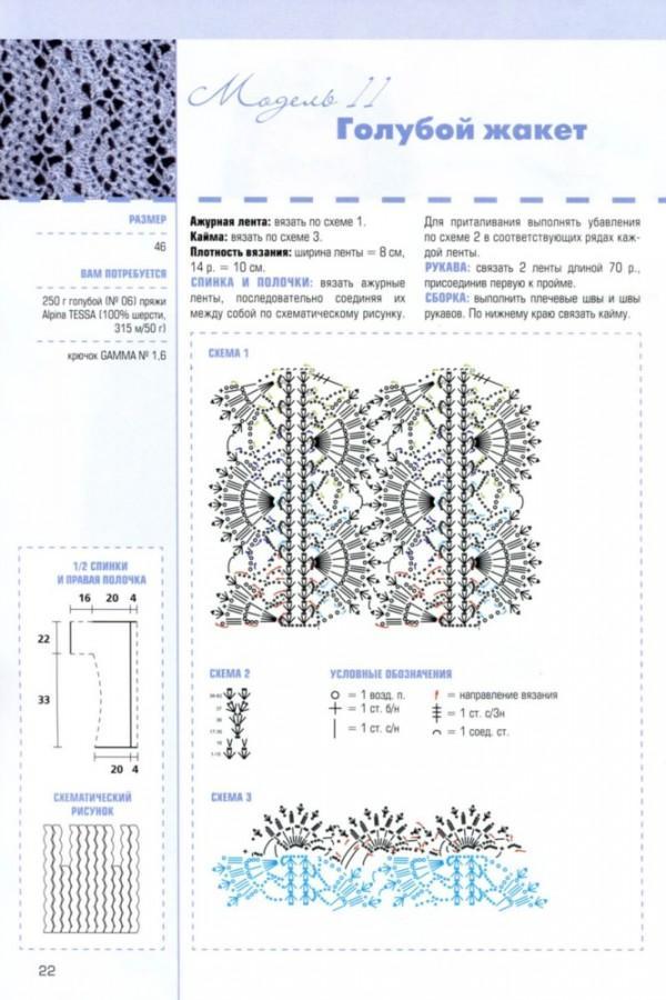 Голубой жакет схема вязания