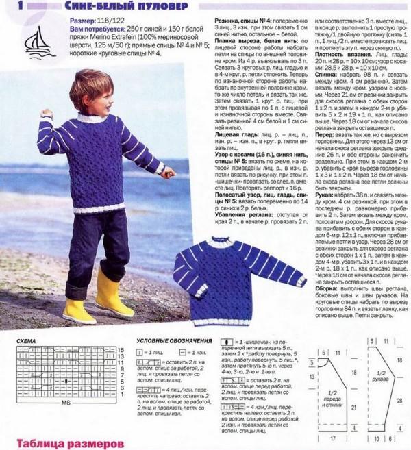 Сине-белый пуловер для мальчика