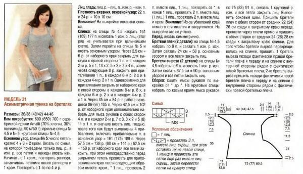 Асимметричная туника схема вязания бесплатно