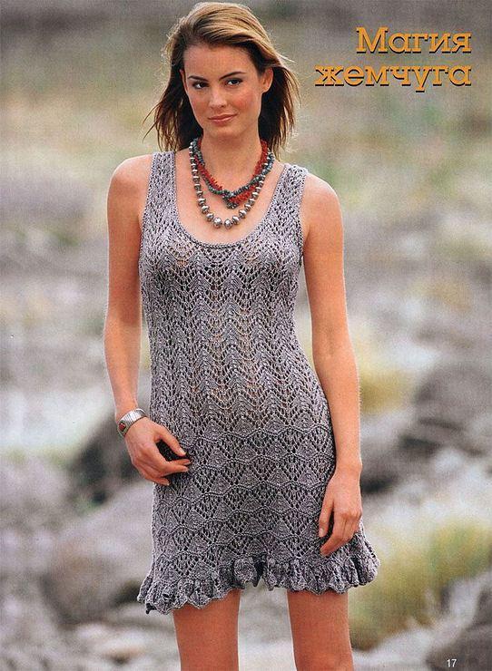 Ажурное платье вязаное спицами