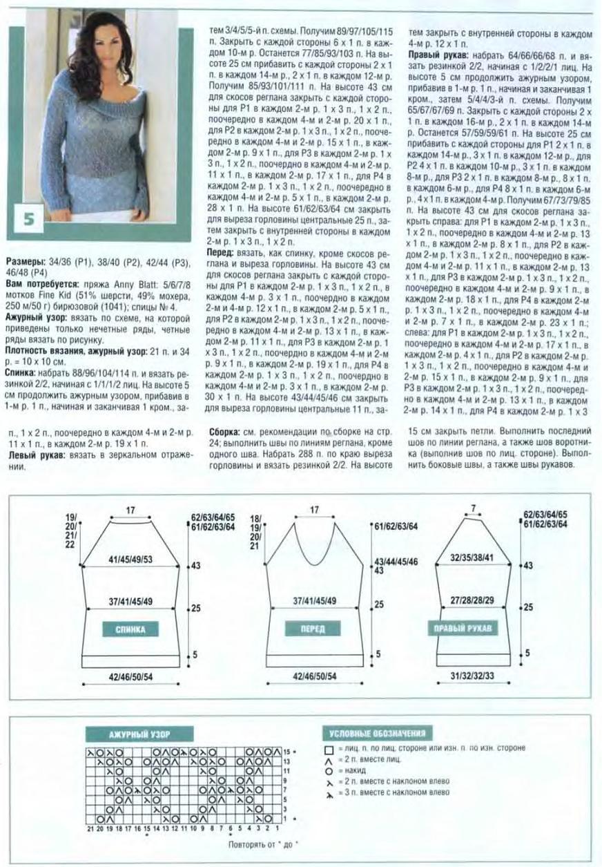 Пуловер из мохера вязание спицами схема