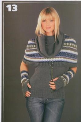 Пуловер, пелерина и митенки