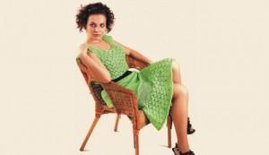 Вязание крючок зеленое платье