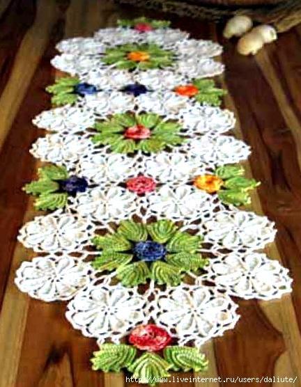Салфетка с цветами вязаня крючком
