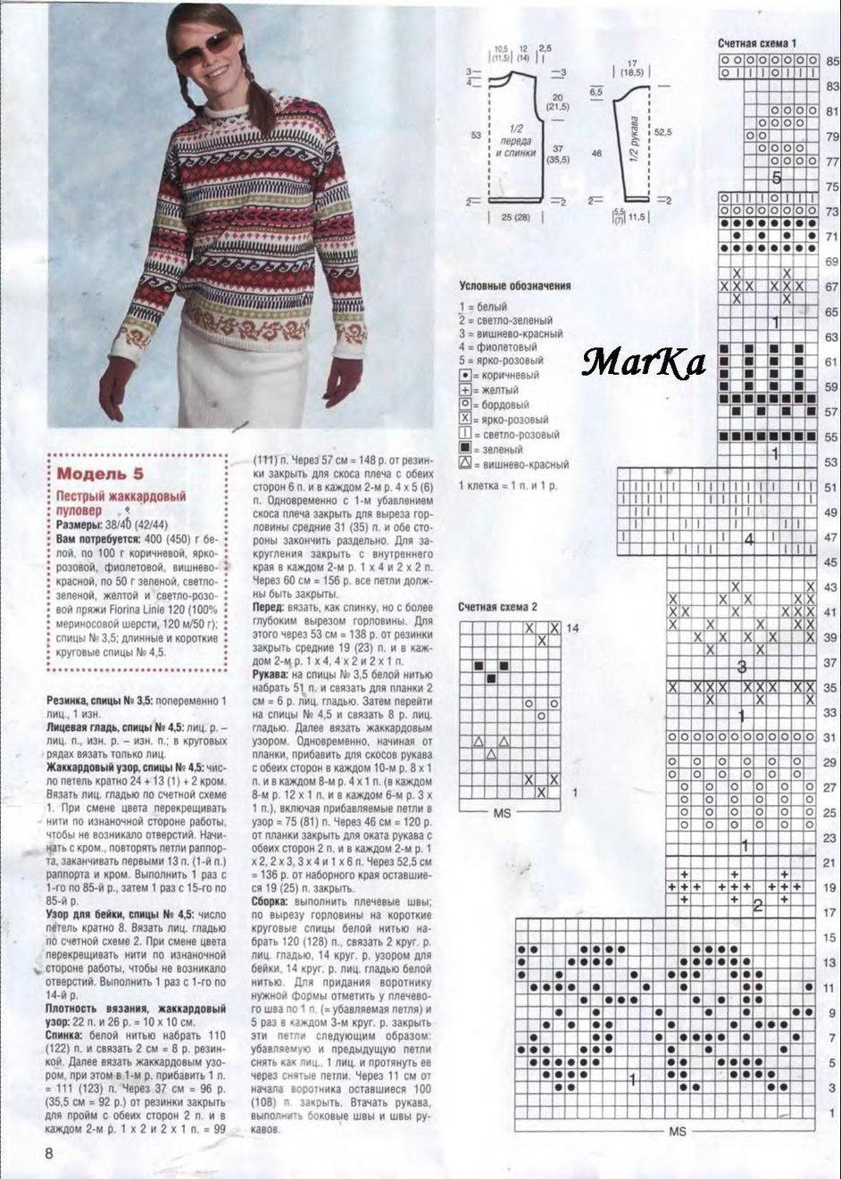 Пестрый жаккардовый пуловер