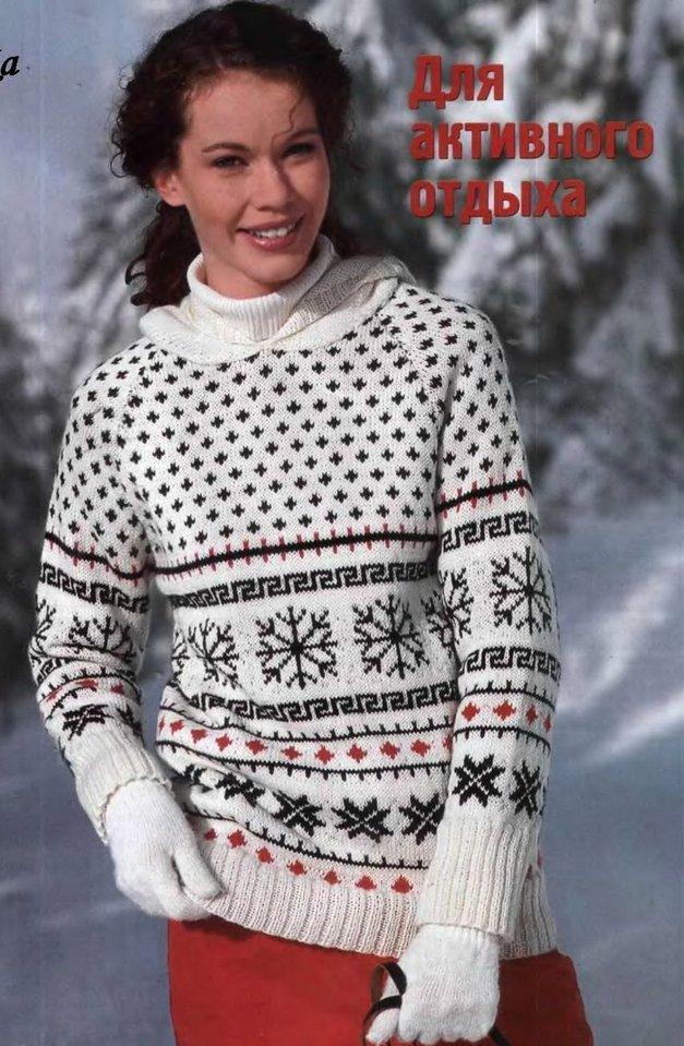 Жаккардовый пуловер с капюшоном