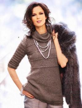 Длинный пуловер с короткими рукавами