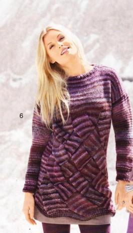 Пуловер с крупным плетёным узором