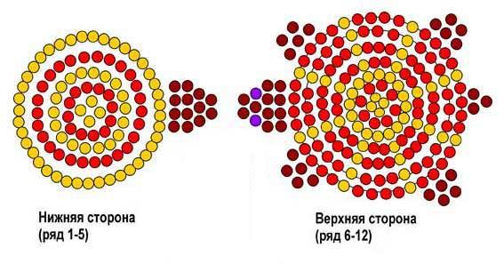 Черепеха из бисера - схема плетения