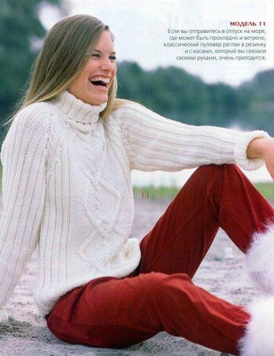 Пуловер с узором из кос и ромбов