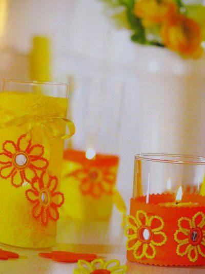 Подсвечники с цветами из бисера