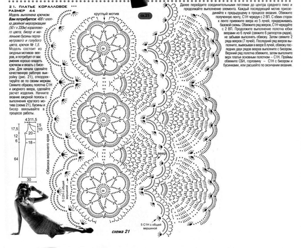 Коралловое платье крючком описание вязания