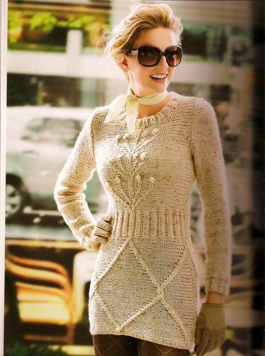 Платье - туника спицами