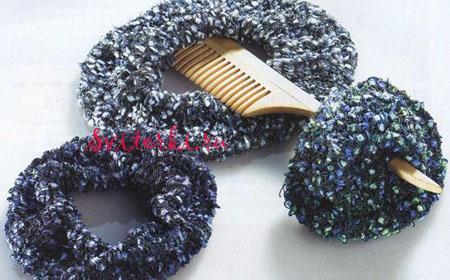 Вязаные спицами резинка для волос