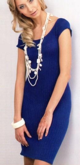 Простое голубое платье