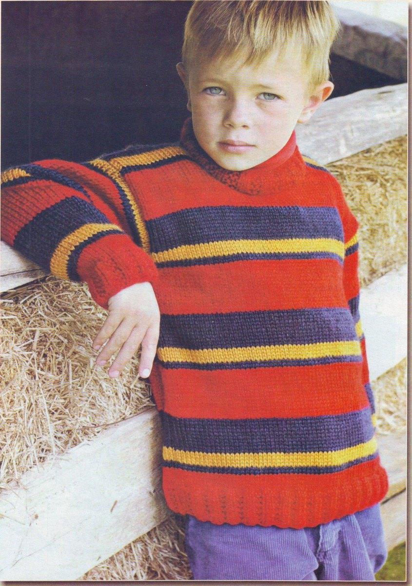 Вязаный пуловер для мальчика 6 лет