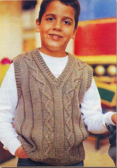 Вязаный жилет для мальчика 7 лет