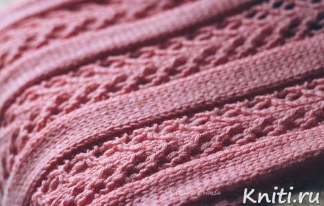 Розовый шарф спицами
