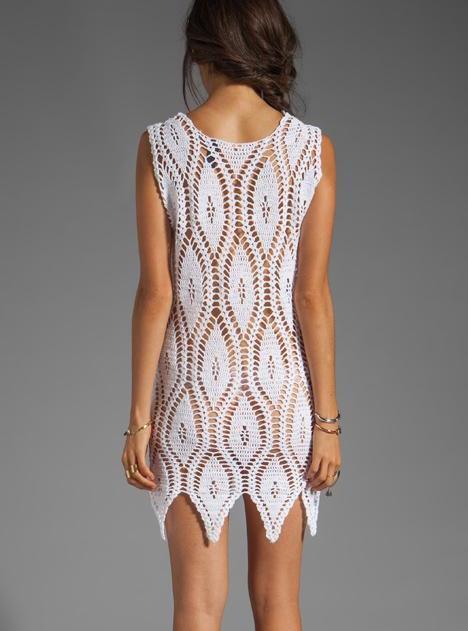 Спинка вязаного платья крючком