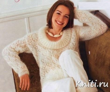Пушистый пуловер из королевского мохера