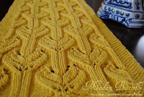 Желтый шарф узор спицами