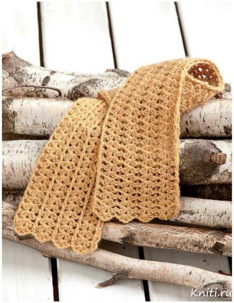 Бежевый шарф крючком