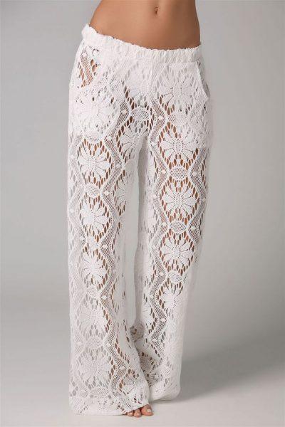 Ажурные вязаные брюки идея