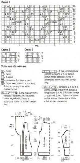 схема вязания длинного жакета